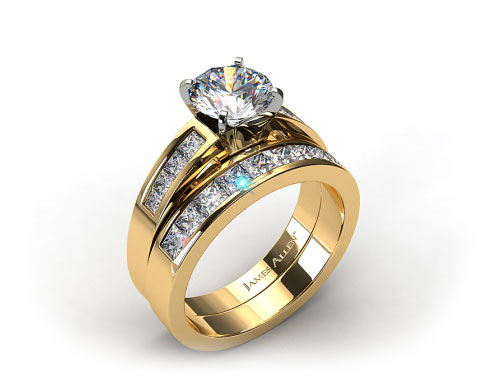 18k Yellow Gold Channel Set Diamond Wedding Set
